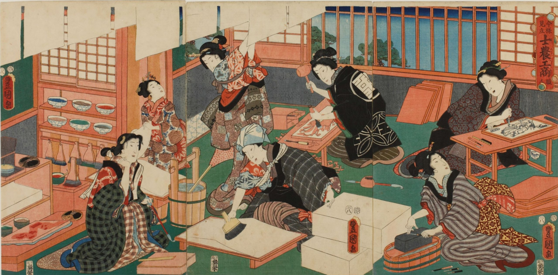 traditional image of 6 asian figures in a room wearing traditional dress