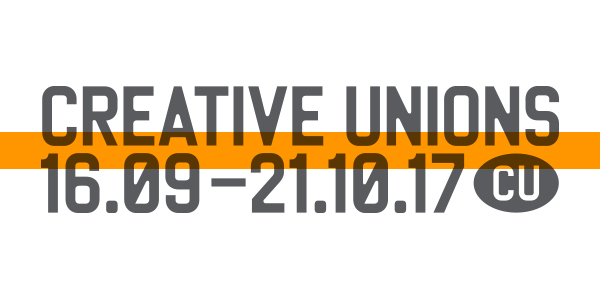 grey and orange text image saying creative unions