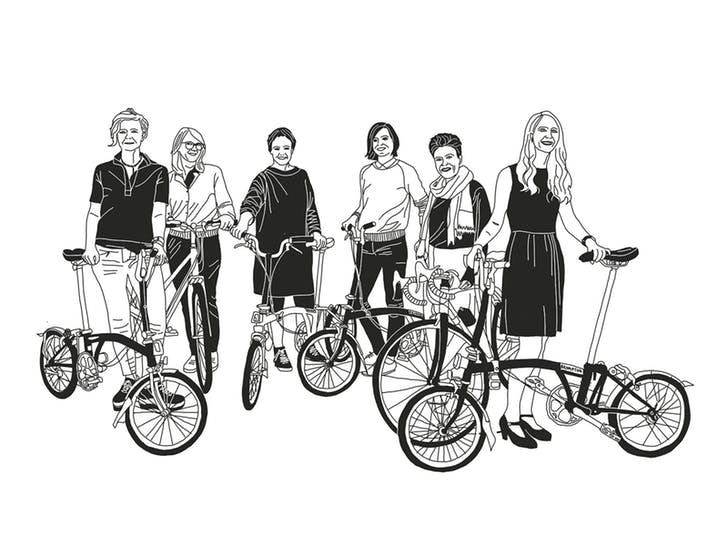 black and white illustration of 6 women and their bicycles