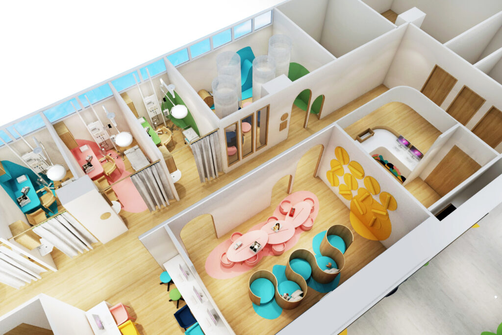 3D view of the inside of a building with pink, blue, yellow and green furniture
