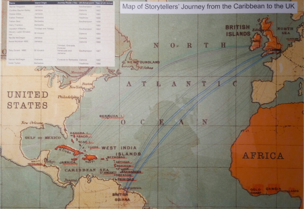 a map with blue lines illustrating the storytellers journeys from the Caribbean to the Uk