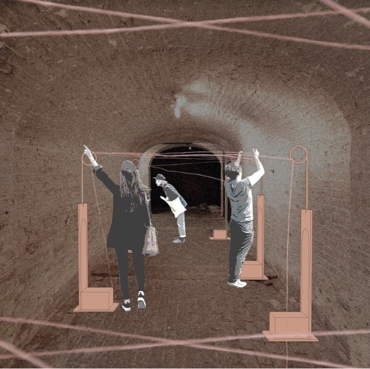 graphic image of three people interacting with a display in a tunnel