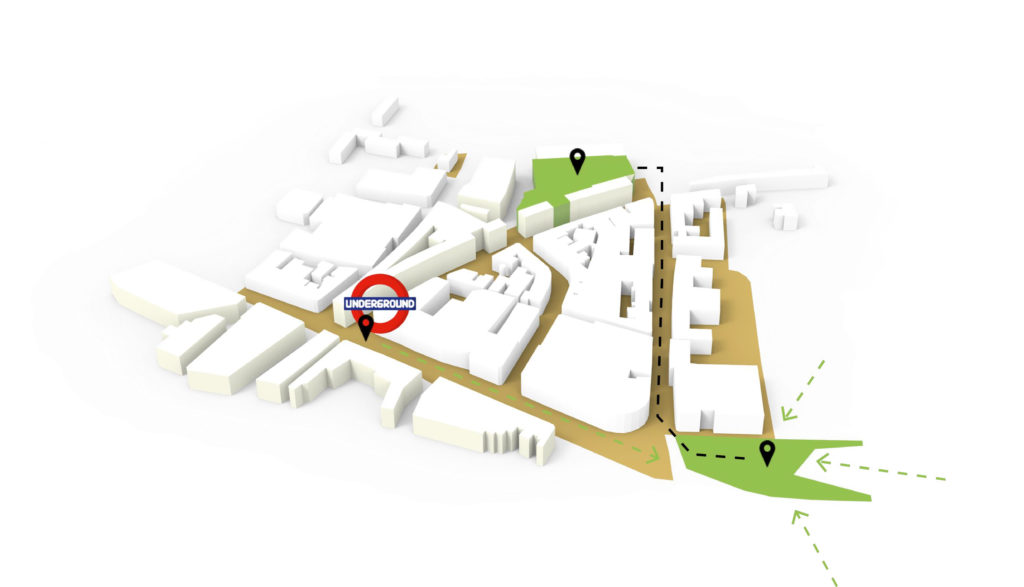 a 3d map of the location of  Disrupt Space project.