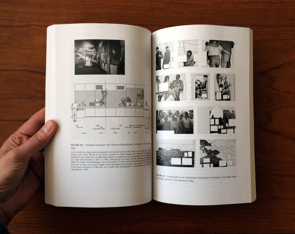 the inside pages of the Graphic Design in Museum Exhibitions showing black text on white pages with black and white diagrams and photographs.