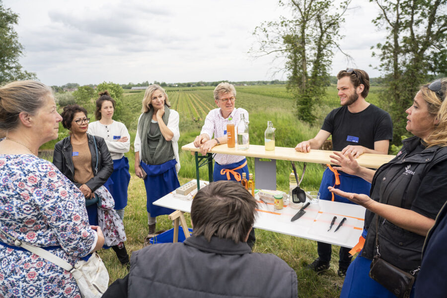 image of eight people gathered around an outdoor table in a field with trees behind them.