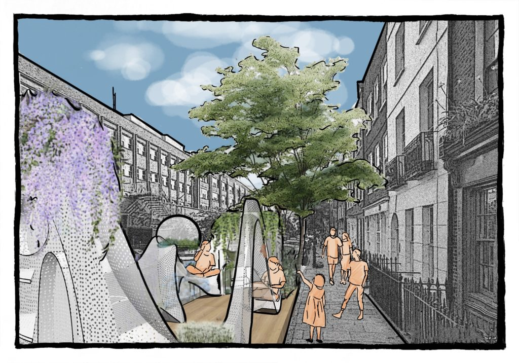 illustration of an installation in street with figures approaching it and sitting in it.