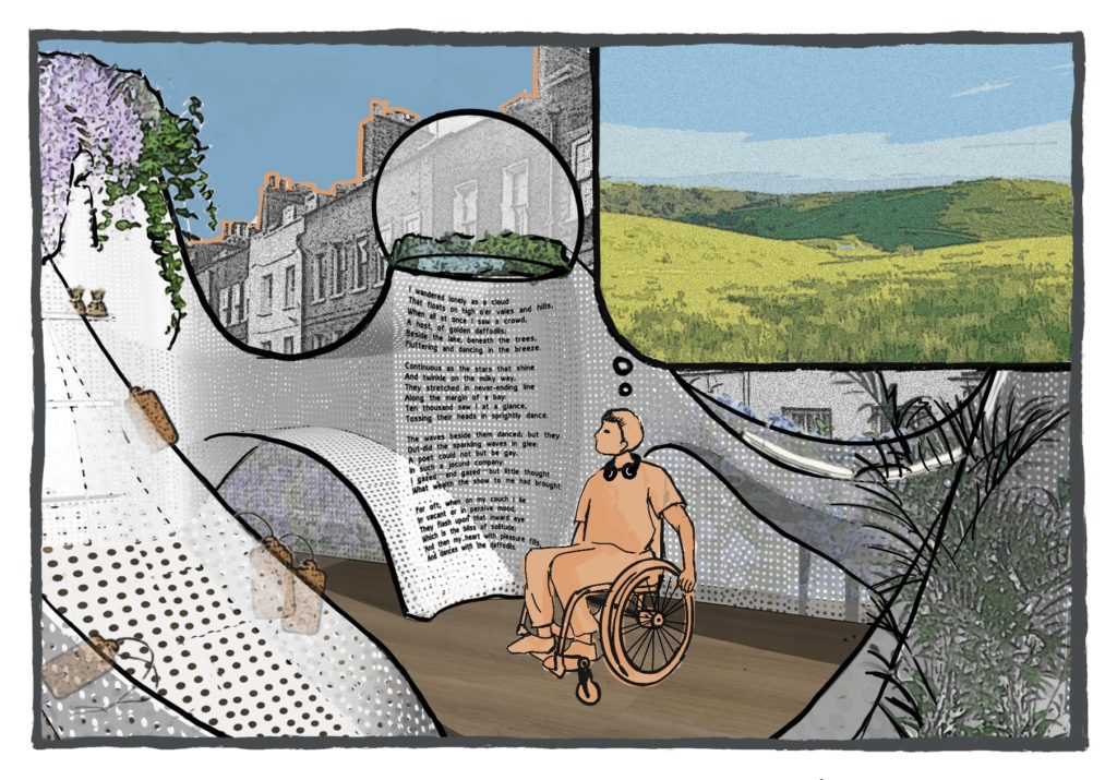 illustration of a person in a wheelchair in the parklet reading text on one of the walls.