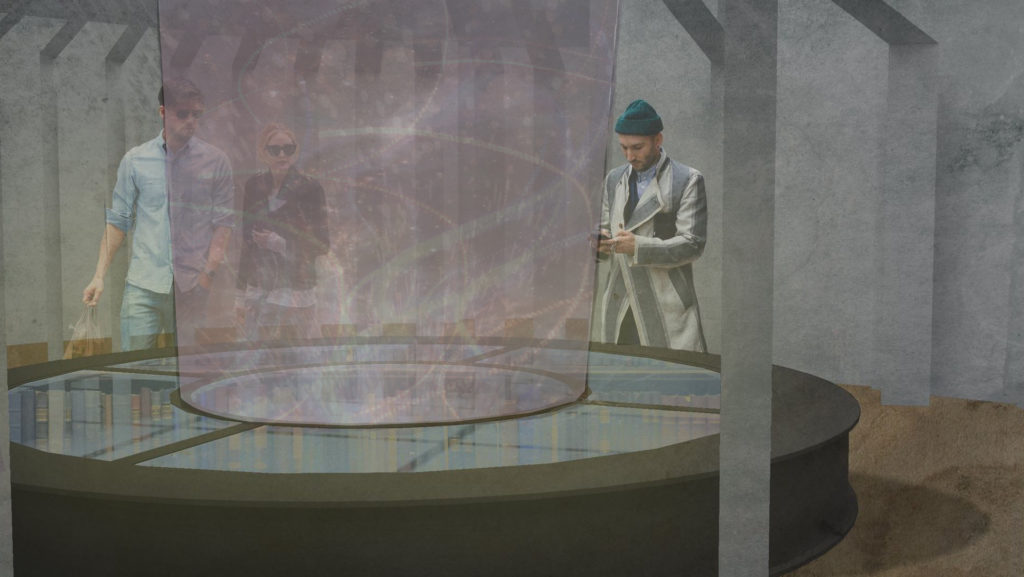 visualisation of the interior of the British Library portal design showing visitors interacting with a circular display table.