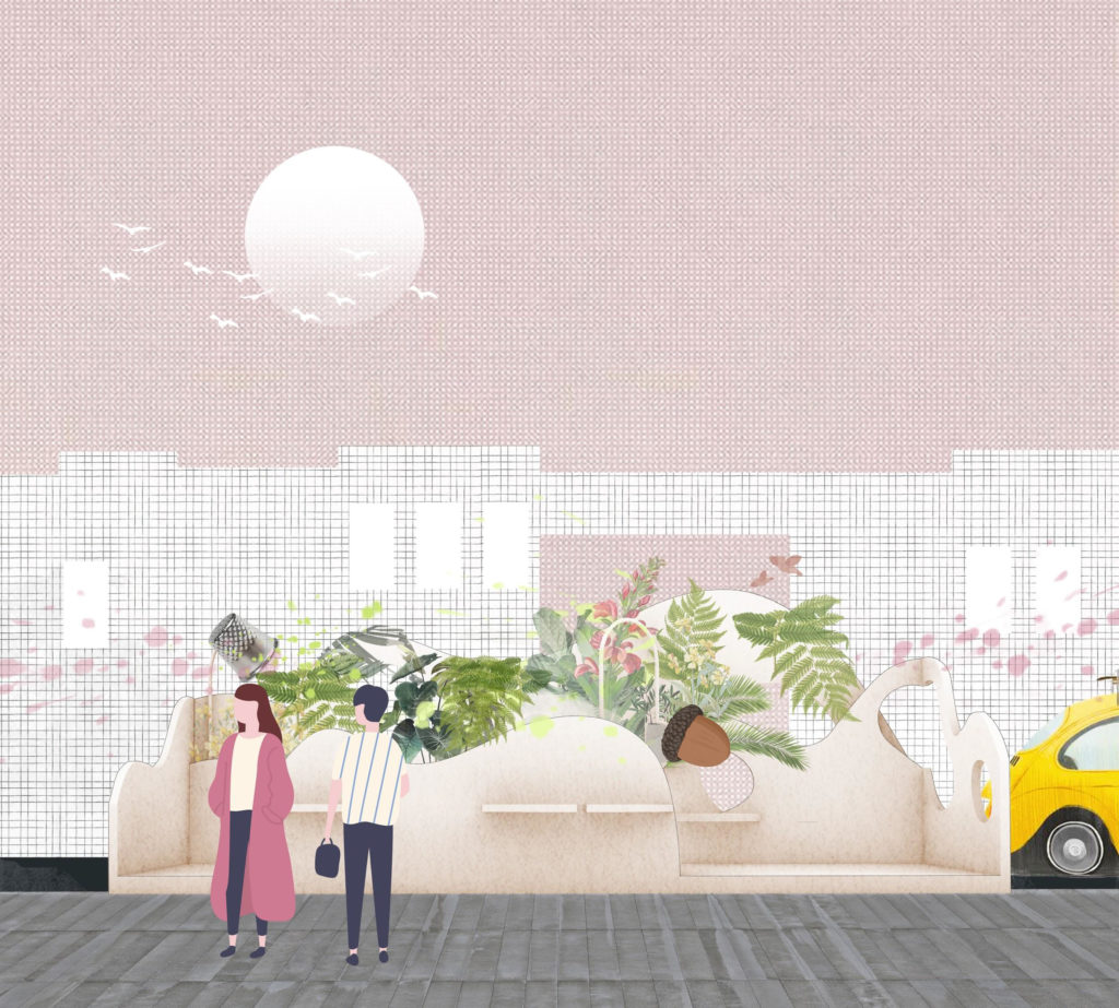 illustration of two people standing in the street next to the great Ormond street parklet design.