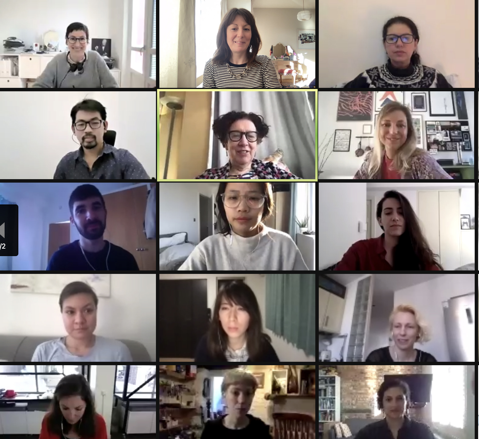 screenshot from a zoom call with 15 participants faces.