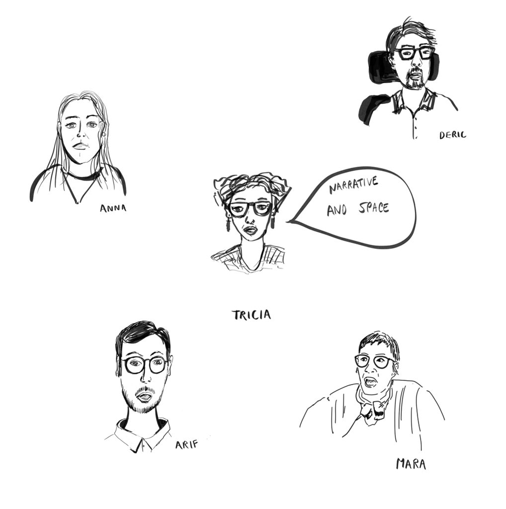 black and white sketches of the speakers at the alumni event.