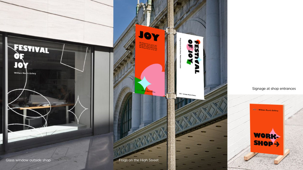 bright coloured branding and the shop front visualisations for the Festival of Joy.