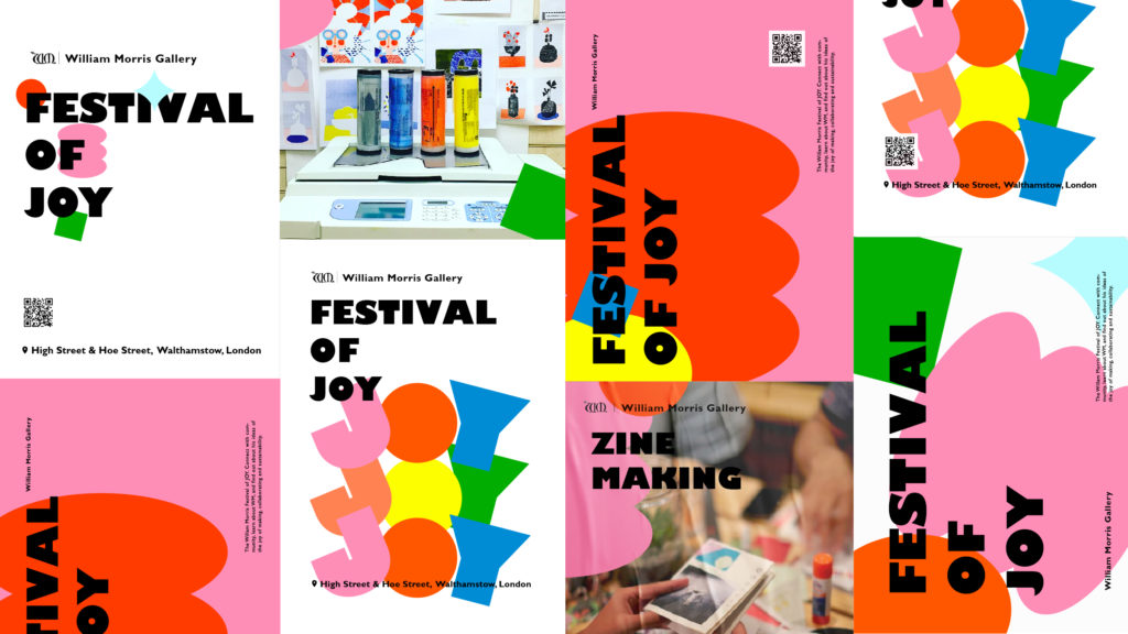 Poster illustrations in pink, red, blue and yellow abstract shapes with black text.