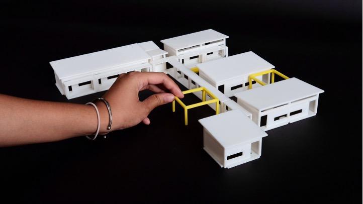 Architectural scale model of the modular school design.