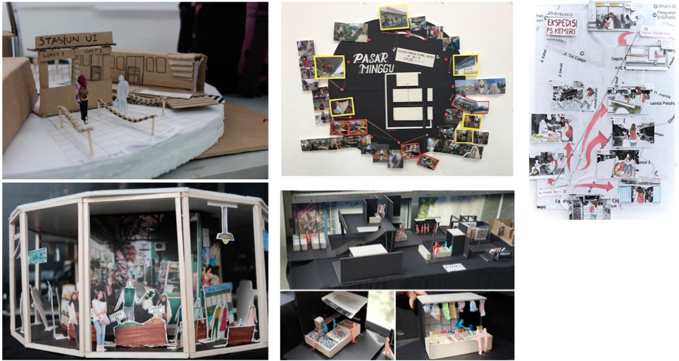 image of seven cardboard and paper collaboratively produced prototype models of concepts for the school design.