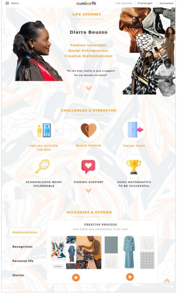 Image of the webpage design for numberfit role model Diarra Bousso including a portrait and icons that represent life events, on a white background with a faint fabric pattern on it.