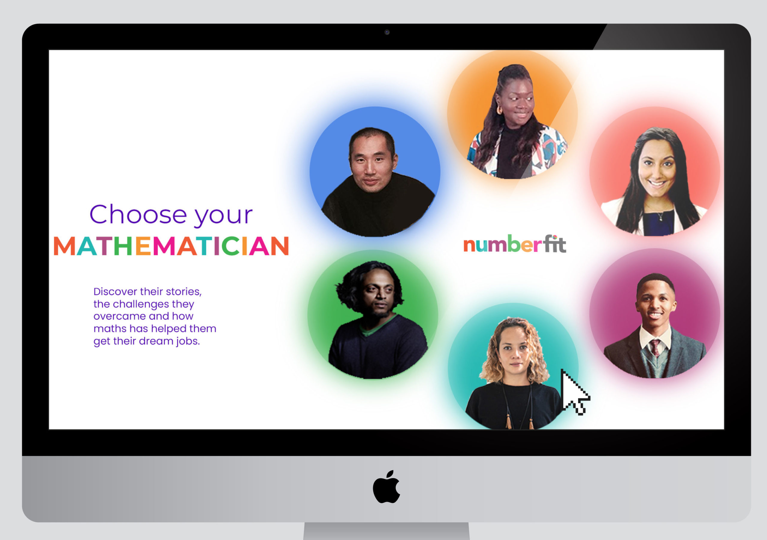 an apple computer screen showing six individuals in circular frames on a coloured background