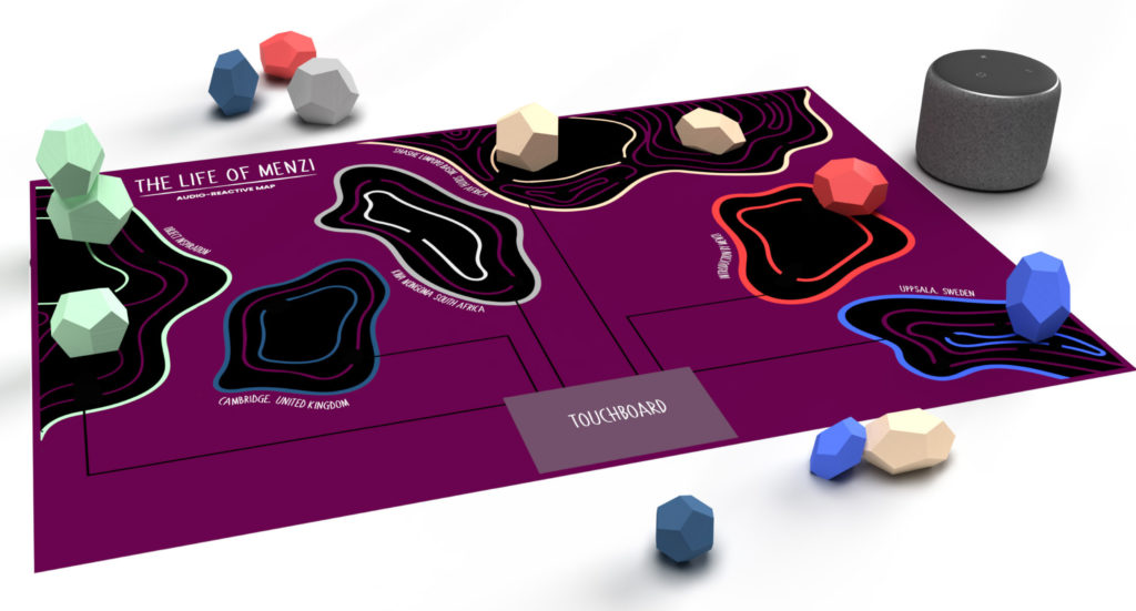 Image of the audio-responsive story map design on a purple board with geological data and interactive blocks to place on the map.
