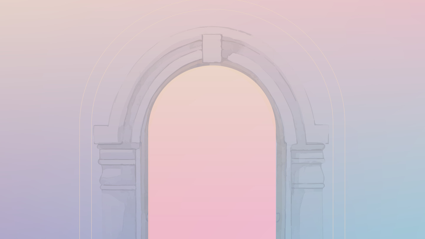illustration of mauve archway with pink sky behind it