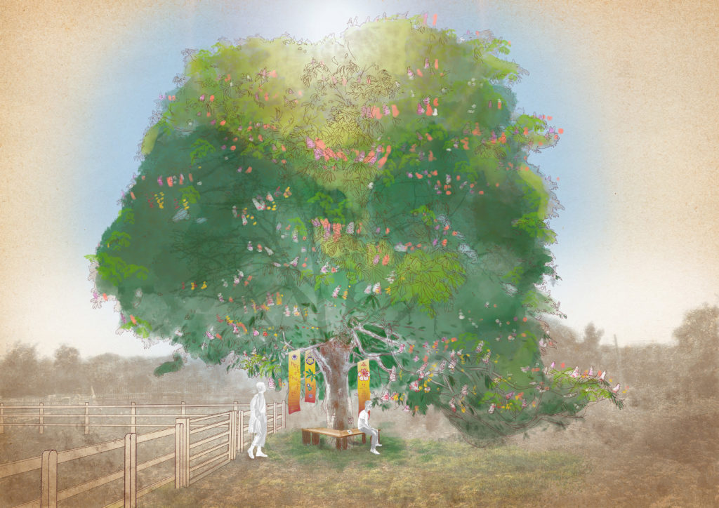 An illustration of a large blooming horse chestnut tree with two benches underneath and three banners hanging from the canopy. Two people gather underneath.